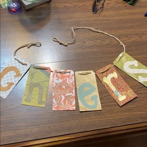 """""""5/$20"""" handmade recycled paper cheers sign"""